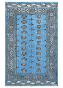 Deep Sky Blue Bokhara 5' 1 x 8' - No. 60388
