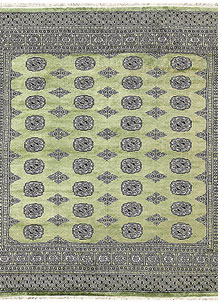 Dark Olive Green Bokhara 6' 8 x 6' 9 - No. 60855