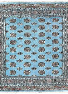 Light Sky Blue Bokhara 6' 6 x 6' 10 - No. 60867