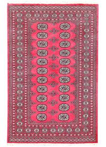 Pink Bokhara 4' x 6' 2 - No. 60958