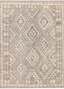 Light Grey Kilim 4' 11 x 6' 6 - No. 62912