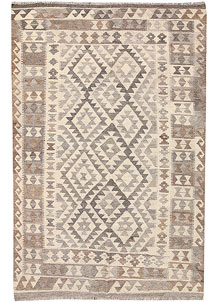 Light Grey Kilim 4' 9 x 7' 1 - No. 62918