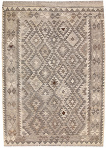 Light Grey Kilim 4' 5 x 6' 4 - No. 62920