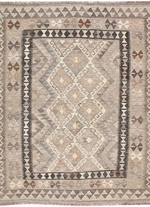 Light Grey Kilim 4' 3 x 5' 5 - No. 62921