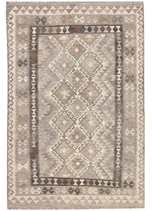 Light Grey Kilim 4' 2 x 6' 2 - No. 62924