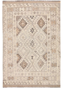Light Grey Kilim 3' 11 x 6' - No. 62928