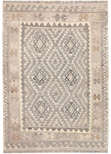 Light Grey Kilim 4' 2 x 5' 11 - No. 62931