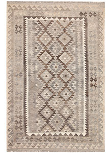Light Grey Kilim 4' 3 x 6' 7 - No. 62937