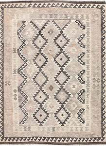 Antique White Kilim 6' 1 x 8' 2 - No. 62938