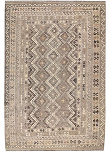 Light Grey Kilim 6' 6 x 9' 9 - No. 63017