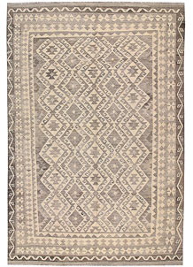 Light Grey Kilim 6' 7 x 9' 9 - No. 63018