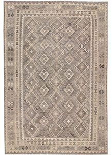 Light Grey Kilim 6' 9 x 9' 11 - No. 63027