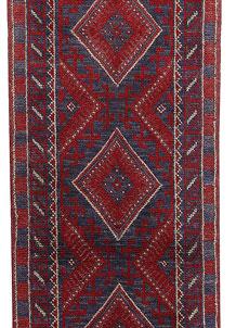 Dark Red Mashwani 2' x 7' 9 - No. 63648