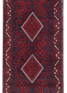 Dark Red Mashwani 2' x 8' 2 - No. 63651