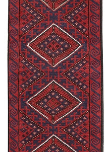 Dark Red Mashwani 2' x 8' 6 - No. 63691