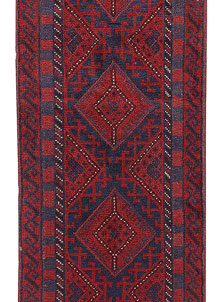Dark Red Mashwani 2' 2 x 8' 9 - No. 63698