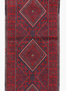 Dark Red Mashwani 2' 2 x 8' 4 - No. 63704