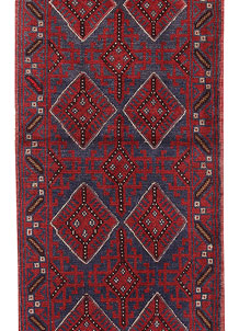 Dark Red Mashwani 2' 2 x 8' 6 - No. 63708