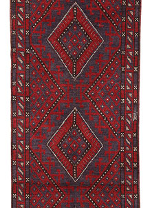 Dark Red Mashwani 2' x 8' 10 - No. 63712