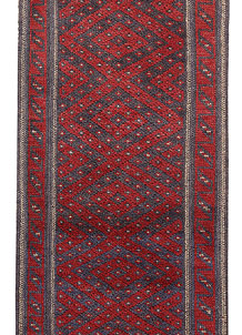 Dark Red Mashwani 2' x 7' 4 - No. 63715