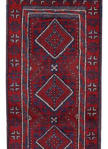 Dark Red Mashwani 2' 2 x 7' 10 - No. 63717