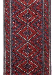 Dark Red Mashwani 2' 2 x 8' 4 - No. 63718