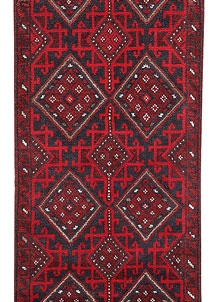 Dark Red Mashwani 2' 2 x 8' 8 - No. 63719