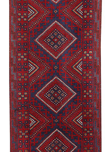 Dark Red Mashwani 2' x 8' 5 - No. 63721