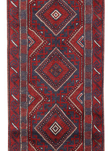 Dark Red Mashwani 2' x 8' 5 - No. 63723