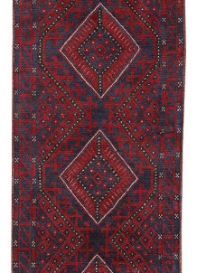 Dark Red Mashwani 2' x 8' 2 - No. 63729