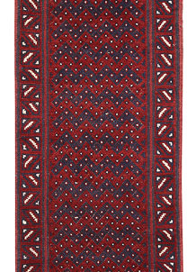 Dark Red Mashwani 2' x 8' 5 - No. 63739