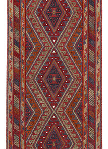 Multi Colored Mashwani 2' 6 x 11' 7 - No. 63740
