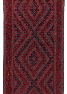 Dark Red Mashwani 2' 9 x 13' 1 - No. 64276