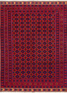 Dark Red Mashwani 4' 10 x 6' 5 - No. 64391