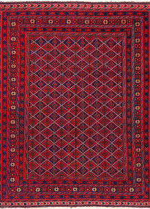 Dark Red Mashwani 5' x 6' 7 - No. 64394