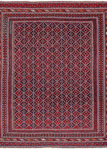 Dark Red Mashwani 5' 2 x 6' 5 - No. 64395
