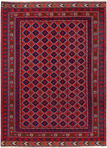 Dark Red Mashwani 4' 11 x 6' 8 - No. 64397