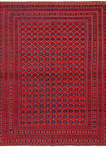 Dark Red Mashwani 7' 2 x 9' 4 - No. 64401
