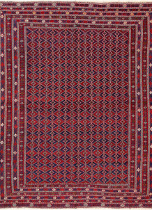 Dark Red Mashwani 6' 9 x 8' 10 - No. 64407