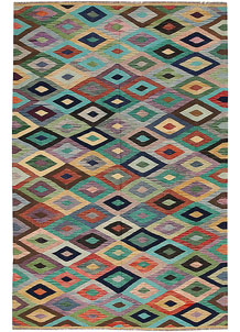 Multi Colored Kilim 6' 3 x 9' 7 - No. 64447