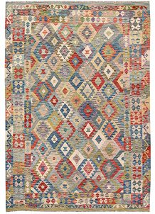 Multi Colored Kilim 6' 3 x 9' 1 - No. 64486