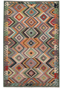 Multi Colored Kilim 5' 11 x 9' 1 - No. 64488