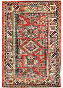 Orange Red Kazak 4' 8 x 6' 9 - No. 64946