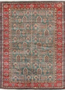 Dark Sea Green Kazak 5' 5 x 7' 5 - No. 64977
