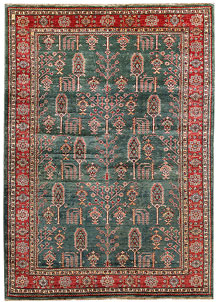 Dark Sea Green Kazak 5' 6 x 7' 7 - No. 64979