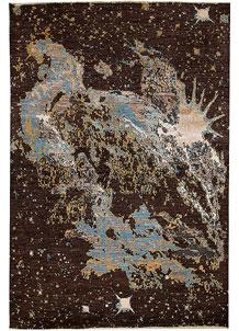 Saddle Brown Abstract 6' 6 x 9' 6 - No. 65115