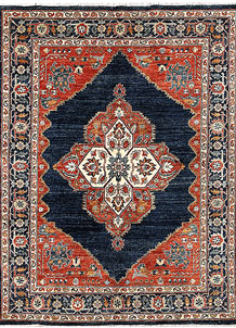 Midnight Blue Oushak 5' 1 x 6' 7 - No. 65706
