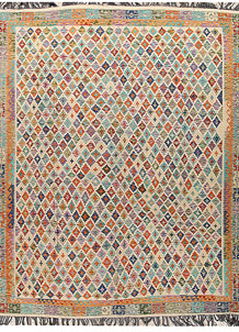 Multi Colored Kilim 8' x 10' - No. 66954