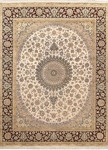 Antique White Isfahan 8' x 10' 3 - No. 67539