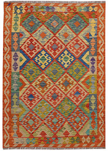 Multi Colored Kilim 4' 4 x 6' - No. 68175